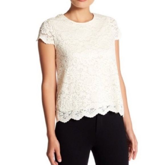 Talbots Tops - Cream floral lace overlay blouse